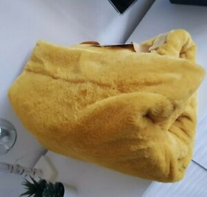 NEW Ochre Mustard Rabbit Faux Fur Throw Blanket Warm Thermal Bed Sofa Lounge Bed