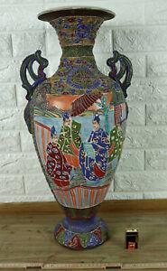 Grosse Vase Japan antik Satsuma tlw emailliert signiert moriage raised enamel
