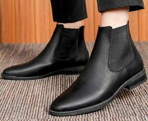 Winter Men Chelsea Boots Brown Low Heels Sip on Ankle Boots US 10 Casual Boots