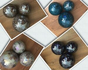 Set of 3 Mosaic Glass Decorative Balls -Azure Blue, Purple, Neutral or Cappucino