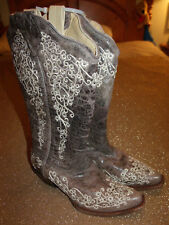 Corral A1094 Distressed Brown Leather Fancy Embroidery Snip Toe Cowboy Boot 6.5M