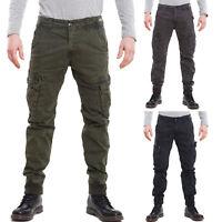 Pantaloni uomo cargo militari tasconi laterali polsini cotone nuovi W-1062