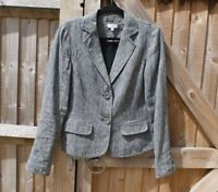 EAST Black Stripe Linen Blazer Jacket Size 10 VGC