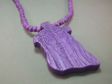 "Christian Pendant ""Face of Jesus"" Beads 33"" All-Wood Necklace PURPLE Low Stock!"