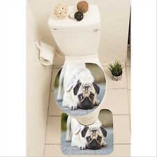 Dog Puppy Pug Set of 3 Bathroom Rug Set Mat Toilet Lid Cover y70 y0102