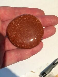 Goldstone Palm Stone Crystal Healing Chakra Genuine 100% + Free Organza Bag