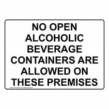 No Open Alcoholic Beverage Containers are Allowed Sign, 10x7 inch Plastic