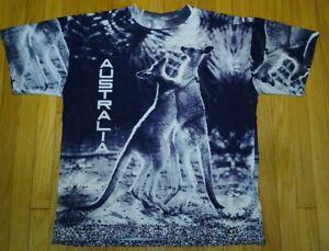 NOS vintage 90s AUSTRALIA t shirt XL all over print full print kangaroo