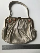 CARTIER Orchids metallic shimmer Leather Evening Bag Coral bead Limited Edition