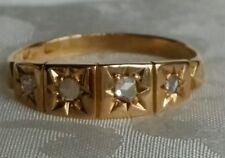 Fully hallmarked Victorian 18ct Gold Diamond Half Hoop Ring, size O 1/2 Bir 1876