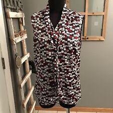 Tahari Arthur Levine Black Burgundy Purse Print Sleeveless Tie Career Blouse M