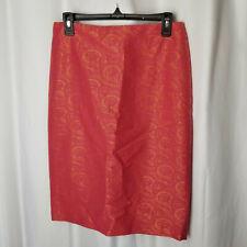 NEW Size 8 LINDA ALLARD ELLEN TRACY Orange & Pink Embroider Skirt, Cotton Blend