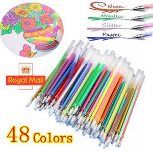 48 Color Gel Pens Refills Glitter Sparkling Stationery Art Craft Paint Supplies