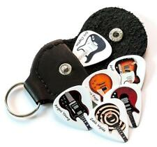 Famous Electric Guitars 6 Guitar Picks Double Sided With Leather Plectrum Holder