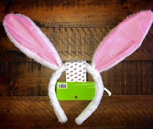 Easter Bunny Ears Headband Plush Pink Gingham One Size Fits Most New