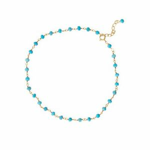 14k Gold Plated Sterling Silver Simulated Turquoise Anklet