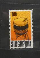 TIMBRES SINGAPOUR : émission 1969 - Instruments de musique - Ta Ku (A385)