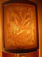 Porcelain Garden Lithophane Night Light Hand Made NR233 PINE CONES Winter Xmas