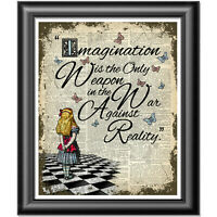 Alice in Wonderland IMAGINATION quote Art Print on Dictionary Book Page, Decor