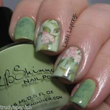 Nail Art Water Decals Wraps Green Pink Floral Flowers UV Tips Decoration (1420)
