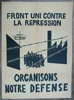 Affiche originale mai 68 FRONT UNIS CONTRE LA REPRESSION french poster 1968 105