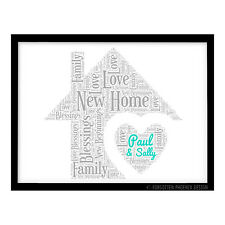 FP1069 Unusual Personalised New Home First House warming Gift Word Art Print