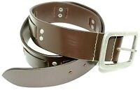 Brown Pure Leather Waist Jean Belt Studded Vintage Casual Square Buckle