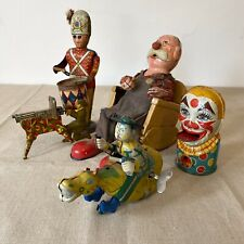 Antique Tin Wind Up Toy Lot Alps Marx Chein Bank Drummer Boy Cowboy Vintage