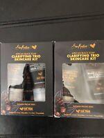 Lot of 2 - Shea Moisture African Black Soap Clarifying Trio Skincare Kit 3 Items