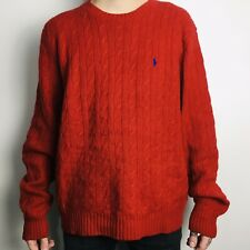 Vintage Ralph Lauren Cable Knit Red Merino Wool Blend Jumper Sweater Large