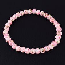 6mm Pink Glass Charms Beaded Stretch Bracelet Fashion Women Jewelry Gift