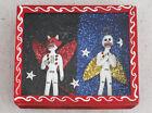 Vintage Mexican Folk Art Day Of The Dead Devil Angel Skeleton Diorama Shadowbox