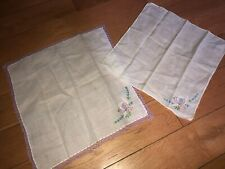 Lot Of 2 Matching Floral Crocheted Handkerchiefs Good Vintage Cond Purple Green
