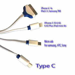 4 in 1 MULTI USB PHONE FAST CHARGER CABLE LEAD FITS APPLE ,SAMSUNG DEVICES