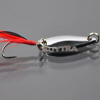 Fad Metal Fishing Lure Sequin Spoon Noise Paillette with Feather Treble Hook SEA