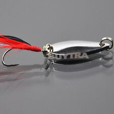Pop Fad Metal Fishing Lure Sequin Spoon Noise Paillette with Feather Treble Hook