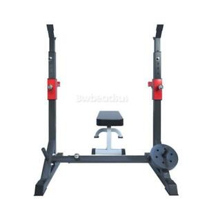 SQUAT RACK ADJUSTABLE WEIGHT BARBELL LIFTING STAND BENCH PRESS RACK HOME GYM GB