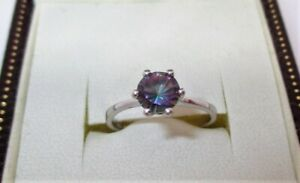 ❤️Stunning 925 Hallmarked Sterling Silver Mystic Topaz Solitaire Ring Size ❤️