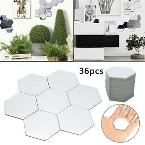 36P Acrylic 3D Mirror Effect Tile Wall Sticker Room Decor Stick On Art Bathroom