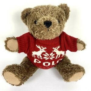 Ralph Lauren Polo Plush Bear 1998 Vintage Christmas Reindeer Sweater Snowflake