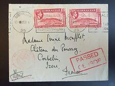 GIBRALTAR 1941 censored cover to France. Red Royal navy tomb censor