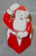 old Santa Claus going down chimney plastic candy container