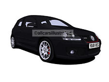 VW GOLF GTI EDITION 30 CAR ART PRINT PICTURE (SIZE A3). PERSONALISE IT!