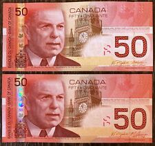 Lot of 2x 2004 Bank of Canada $50 Fifty Dollar Banknotes - Uncirculated