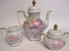 Bareuther Waldsassen Bavaria Pink Floral Coffee Teapot Tea Set Cream & Sugar 114