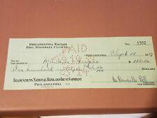 Maurice Harper & Bert Bell AUTOGRAPHED 1939 Philadelphia Eagles payroll check
