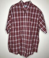 Carhartt Mens Large Tall Button Front Red Plaid Short Sleeve Cotton Shirt