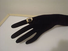 18K HGE heavy gold electroplate ring black w/ CZs sz 8.5 wide band