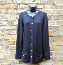 Burberry Women's Black Merino Wool Gold Button Front Cardigan Sweater Size XL