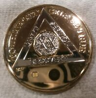 20 YEAR AA GOLD/SILVER Tone Bi-Plated Alcoholics Anonymous CHIP COIN MEDALLION